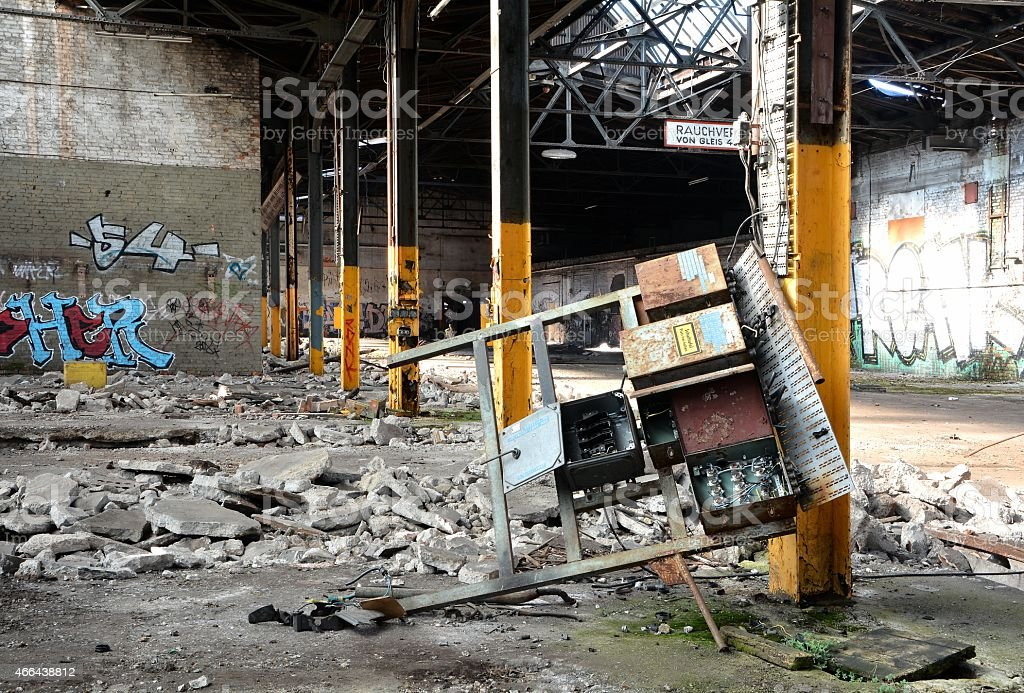 devastated and abandoned stock photo