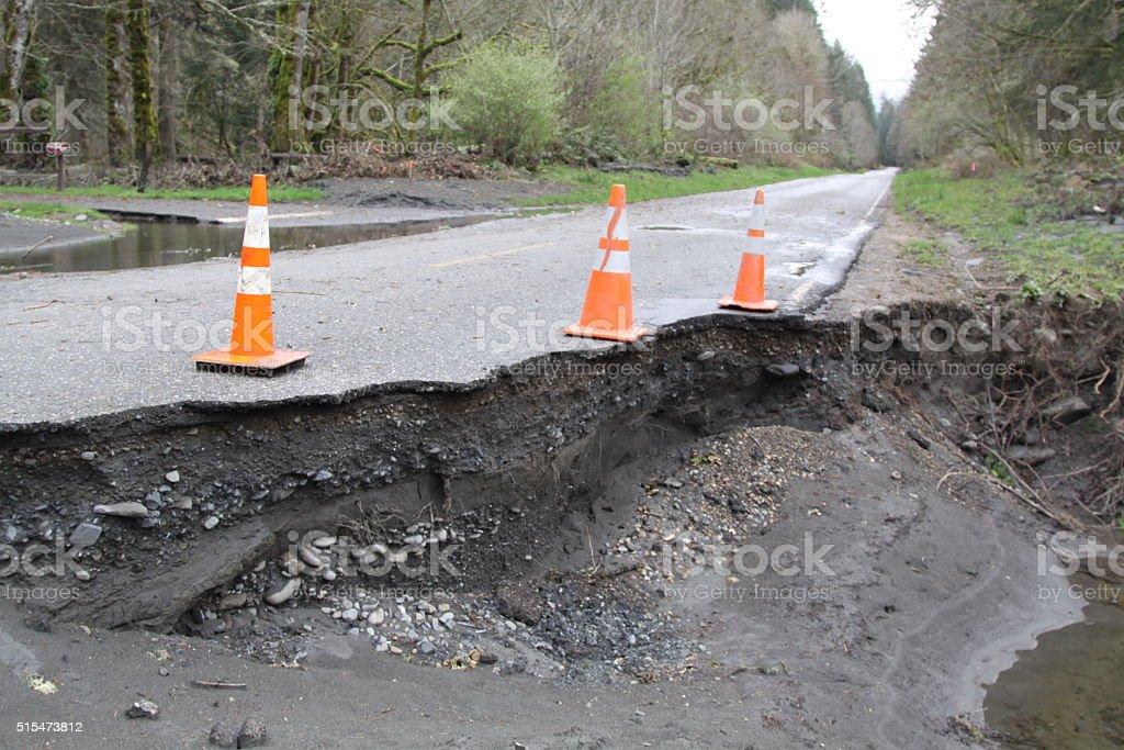 Devastating Road Washout stock photo