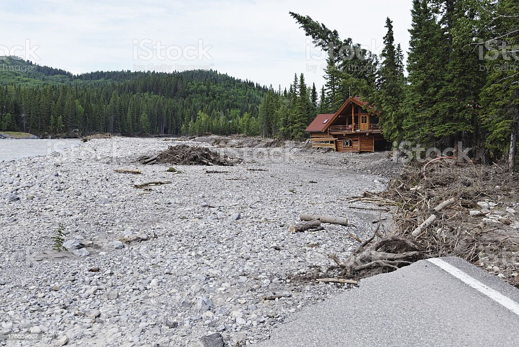 Devastation after the Calgary flood stock photo