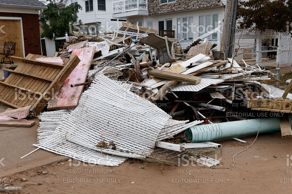 Devastation by Hurricane Sandy. stock photo