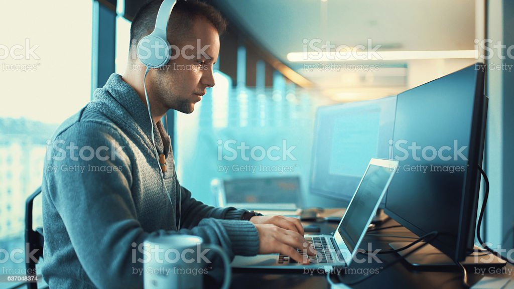 Developer at work. stock photo