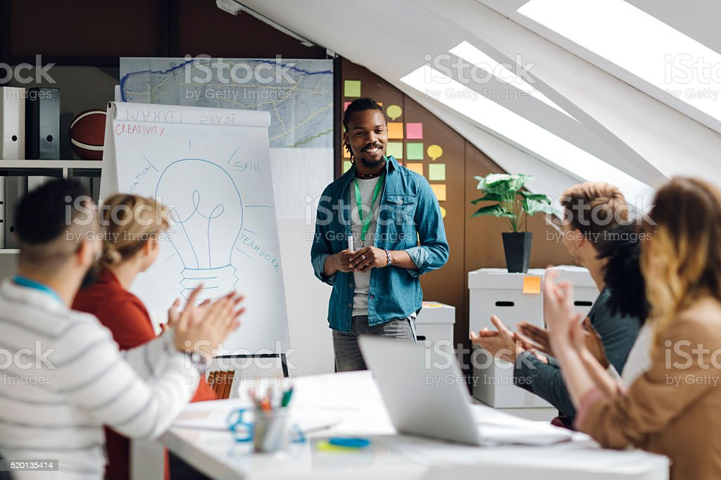 Developer Startup Business Presentation in Their Office. stock photo