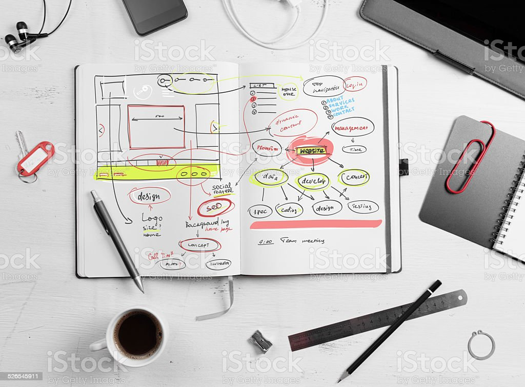 Developer workplace. Open notepad with hand drawn website projec stock photo