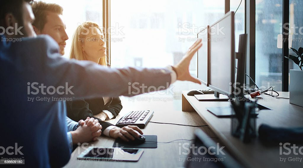 Developers at work. stock photo