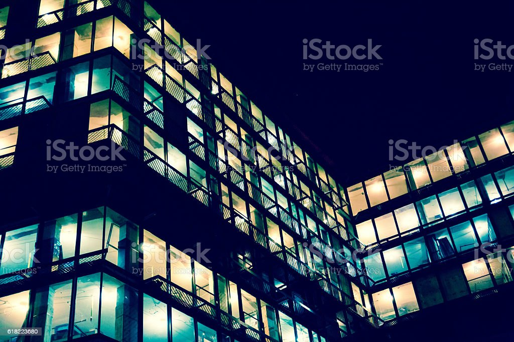 Developing construction site lights at night stock photo