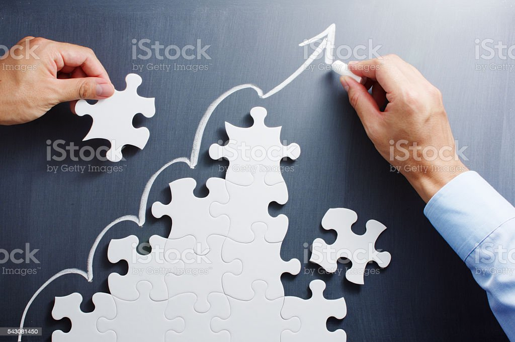 Developing growth strategy. Concept image of management and marketing. stock photo