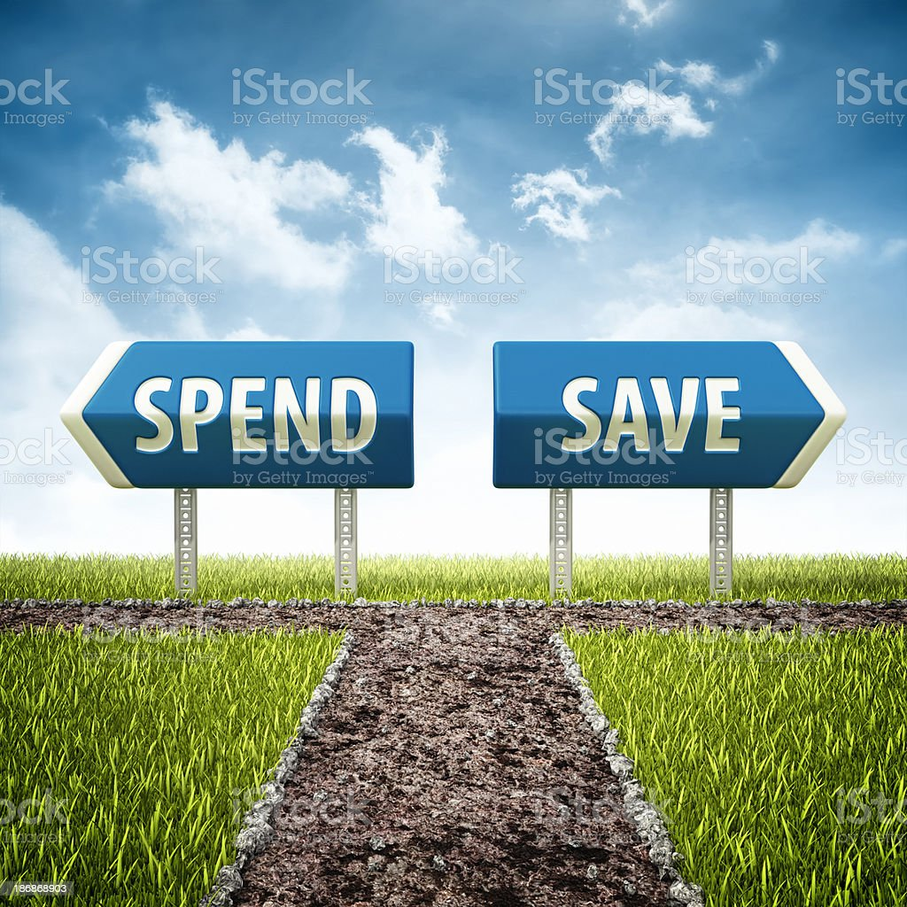 development and bankruptcy crossroad stock photo