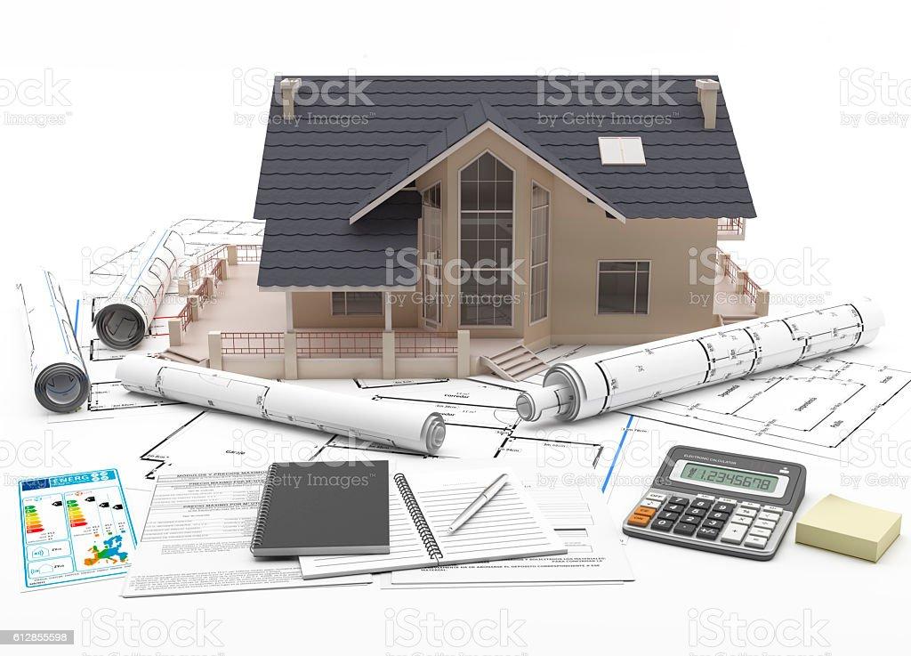 Desarrollo 3D de una casa unifamiliar. stock photo