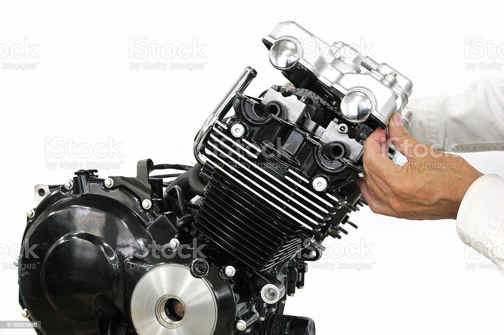 Development of bike engine stock photo