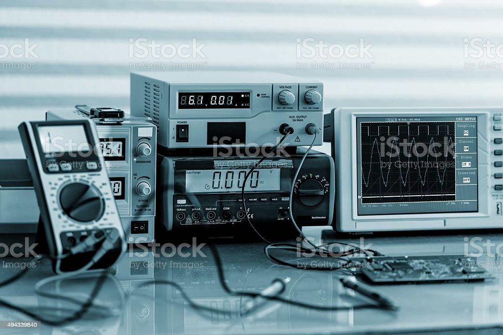Development of electronic devices in the modern electronics labo stock photo