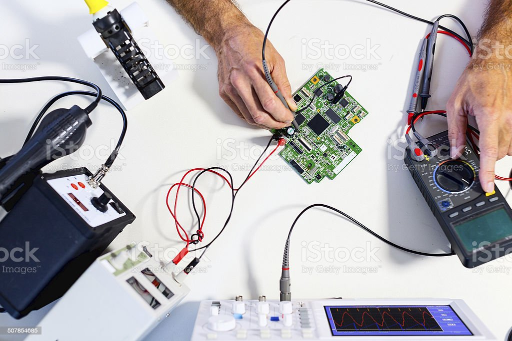 Development of electronic devices stock photo