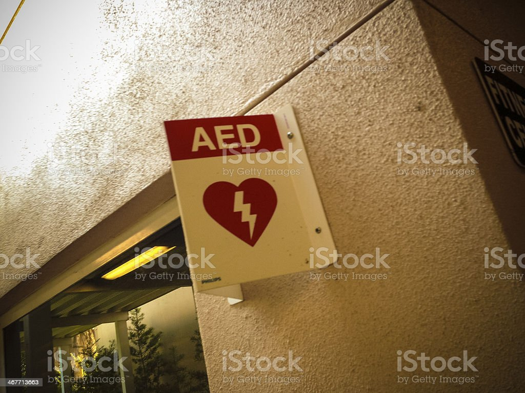 AED device signage stock photo