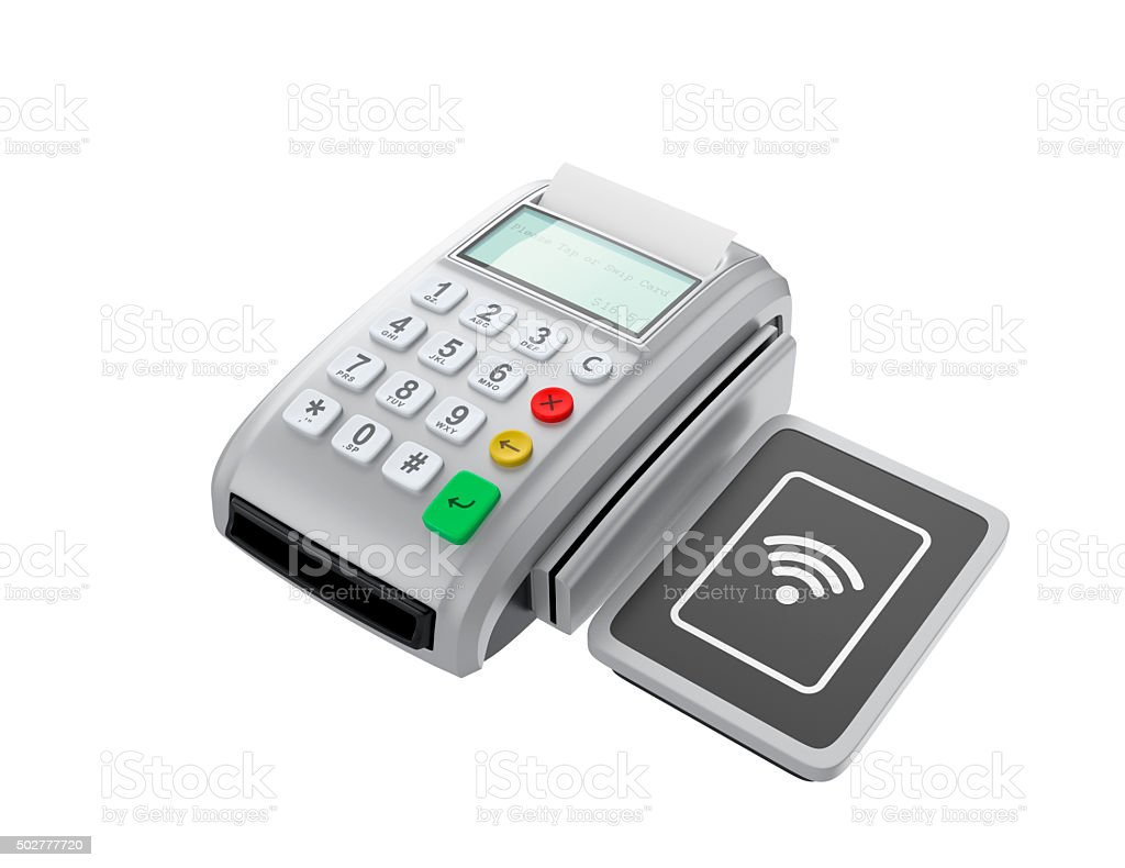 POS device with touch-less pad for nfc system. stock photo