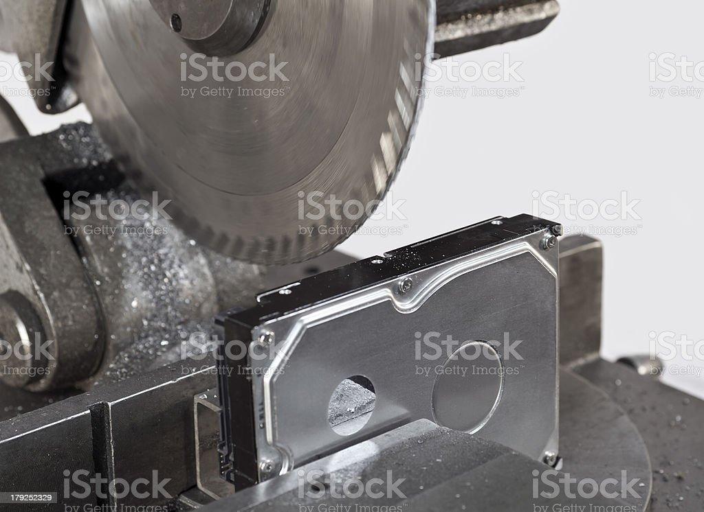 deviding ha hard drive with a circular saw royalty-free stock photo