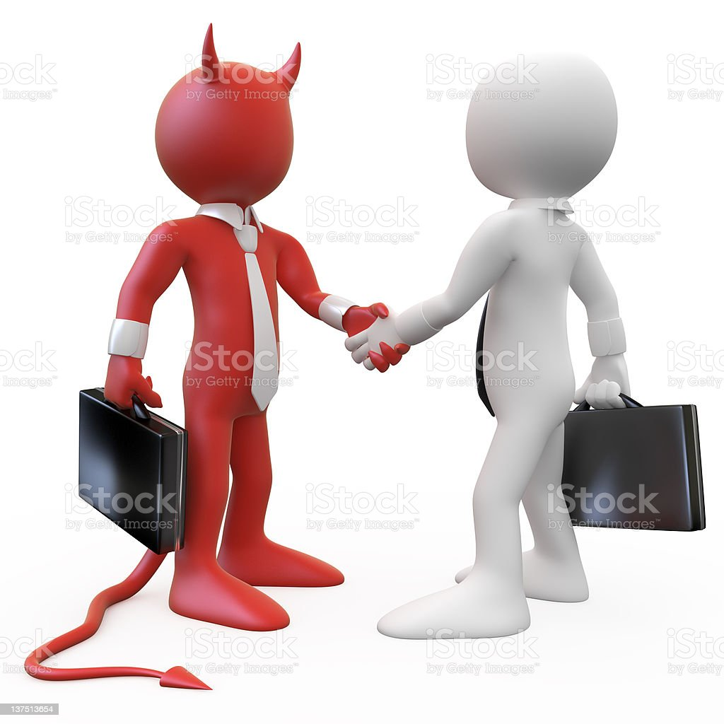 Devil and businessman closing a deal royalty-free stock photo