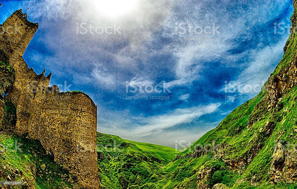 Devil Castle Panorama in Kars (4 Season) stock photo