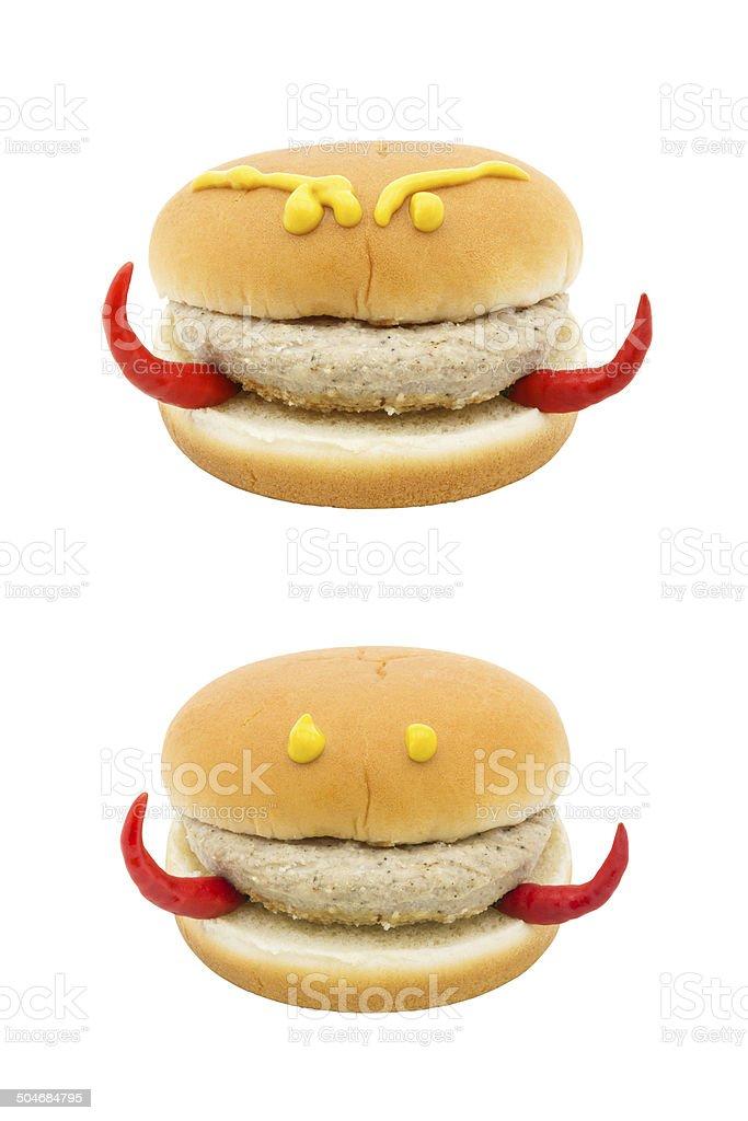 devil face hamburger isolated on white background stock photo