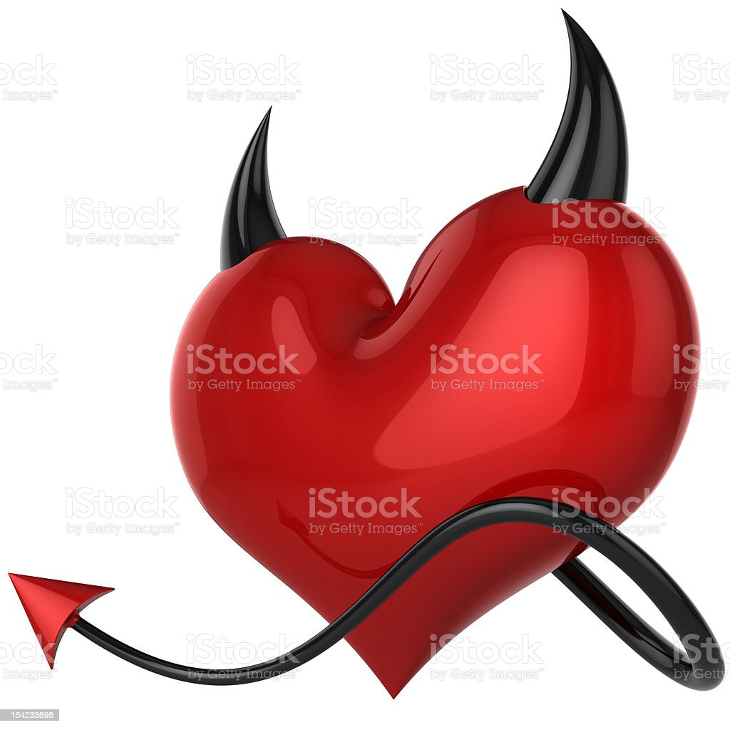 Devil heart. Fateful failure love icon concept stock photo