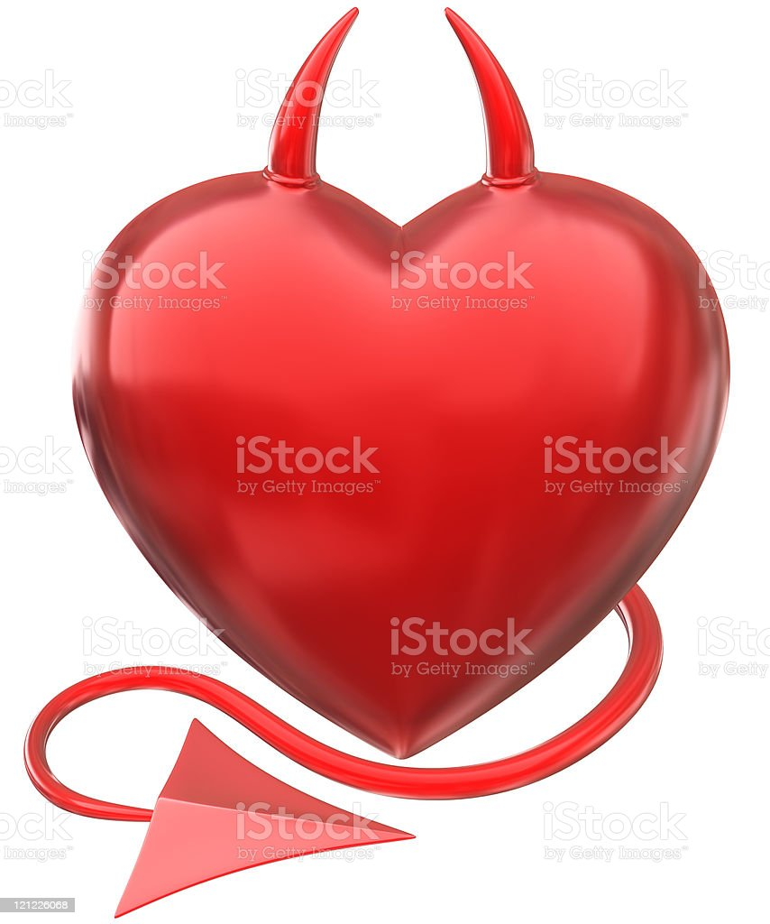 Devil love. Heart with horns and a tail stock photo