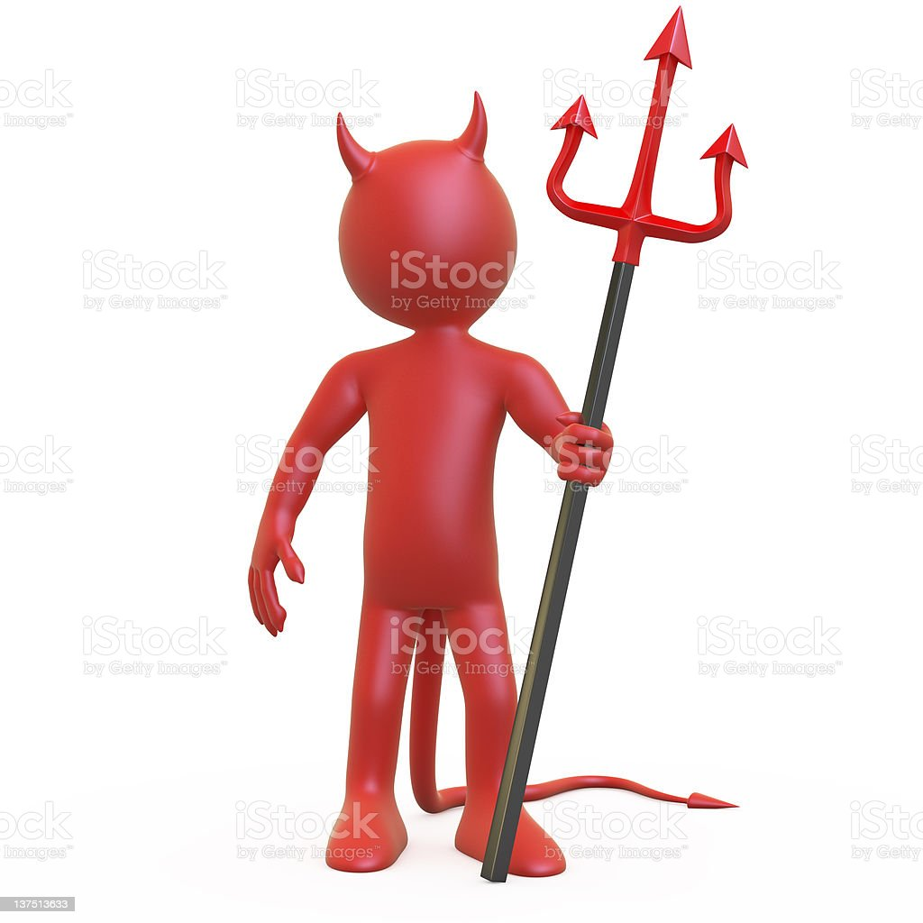 Devil posing with his red and black trident royalty-free stock photo