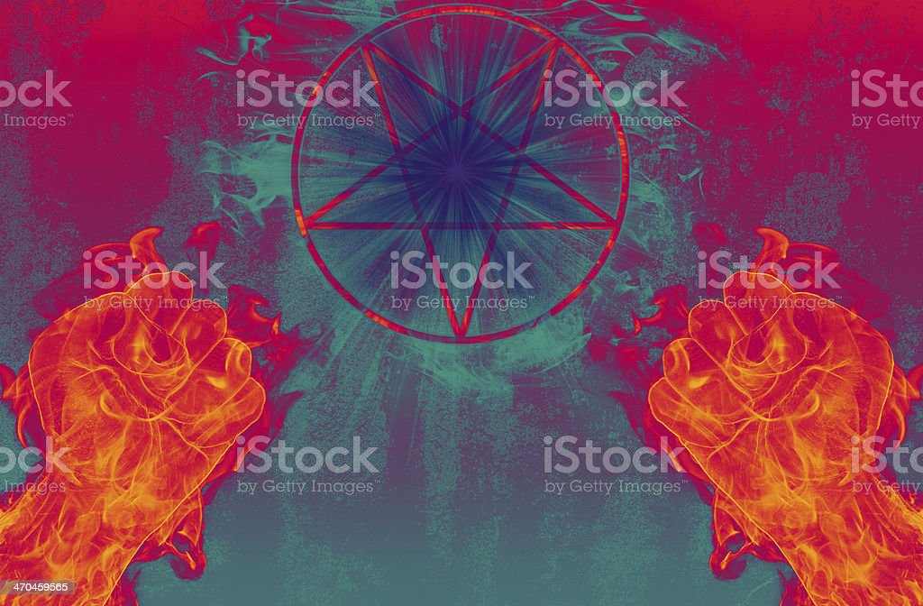 devil with pentagram and portal to hell stock photo