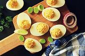 Deviled eggs. Creamy with Greek yogurt.