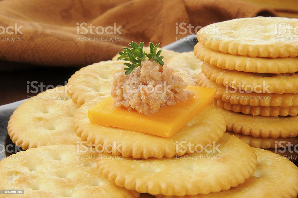 Deviled ham and cheese canapes stock photo