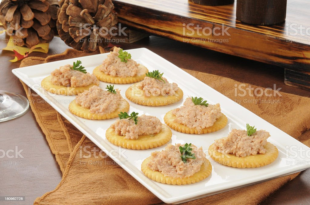 Deviled ham canapes stock photo