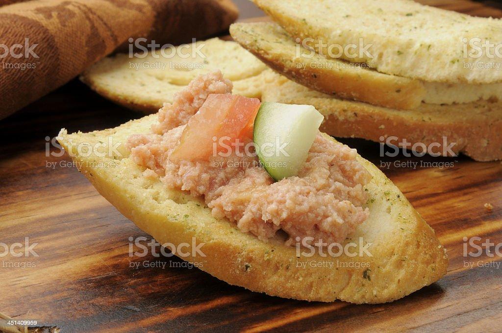 Deviled ham on Italian toast stock photo