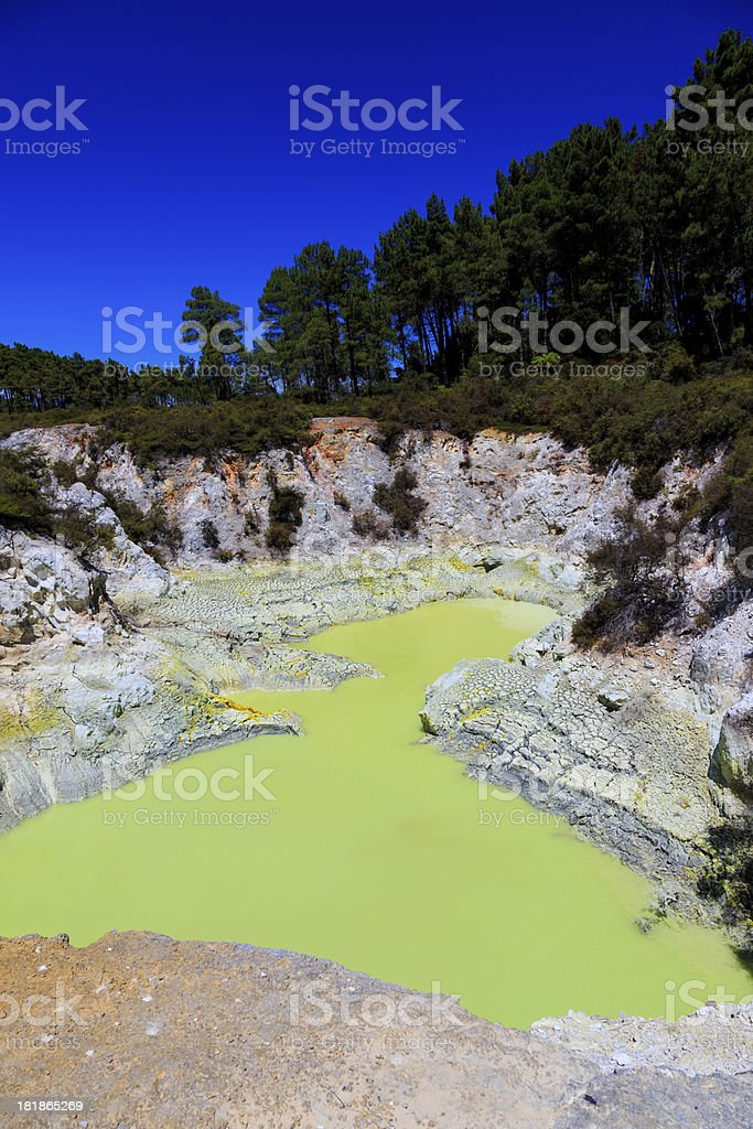 Devils Bath, Copper Sulphate Coloured Water, Waiotapu Thermal Reserve royalty-free stock photo