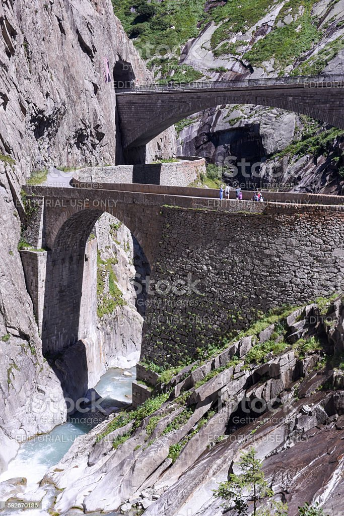 Devil's bridge at St. Gotthard pass on the Swiss alps stock photo