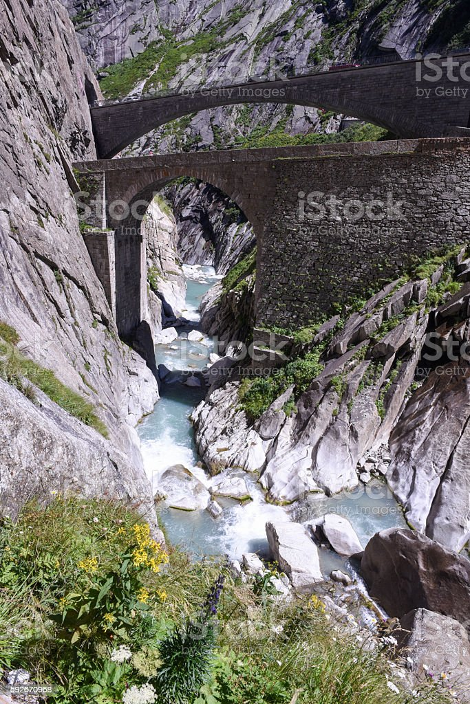 Devil's bridge at St. Gotthard pass stock photo