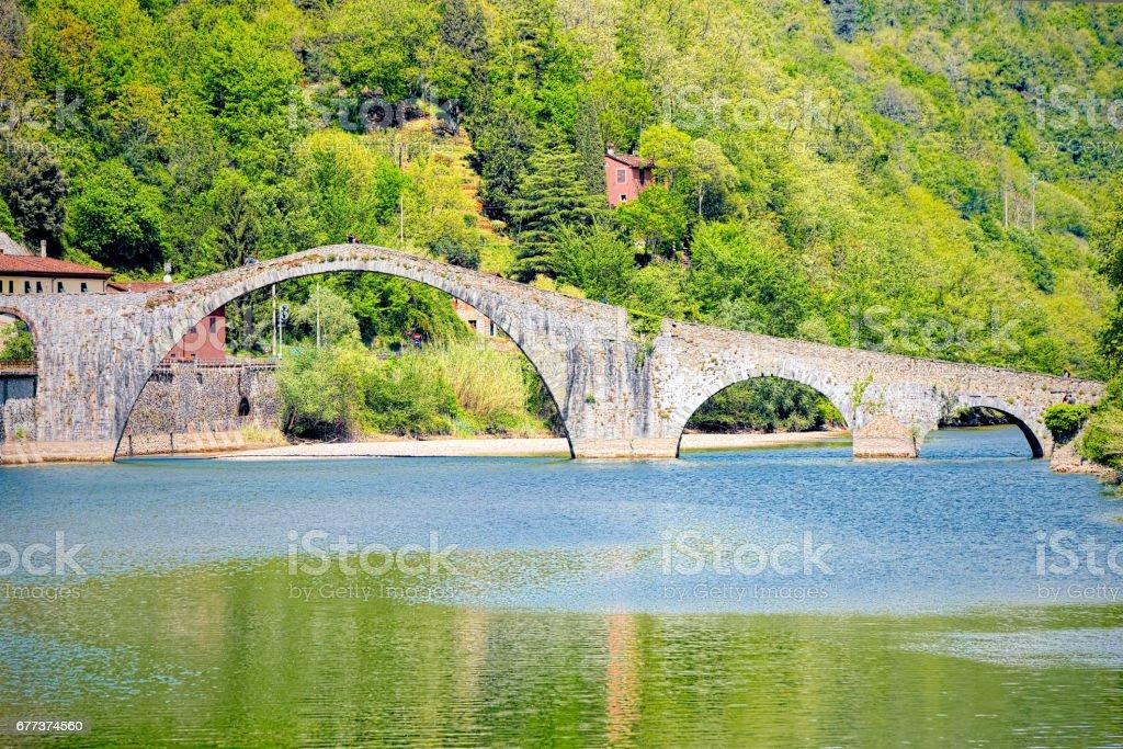 Devil's Bridge (Ponte della Maddalena), Garfagnana, Lucca stock photo