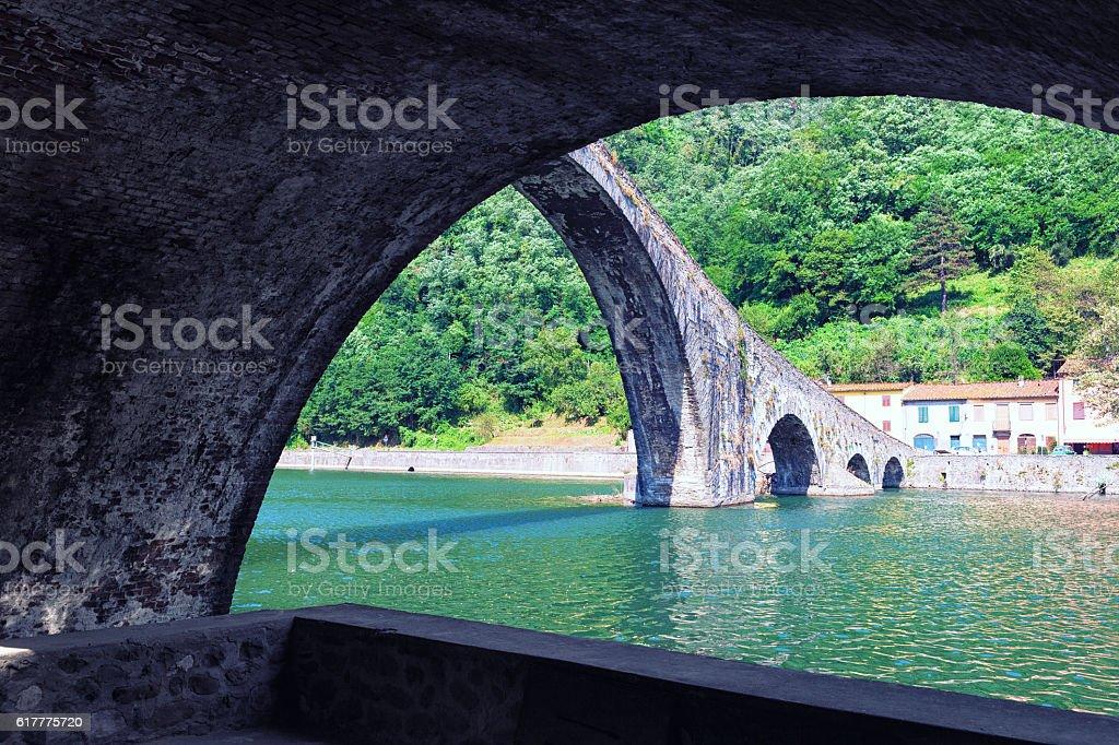 Devils Bridge in Italy stock photo