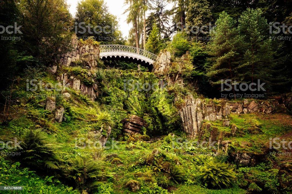 Devil's bridge in the Bergpark Wilhelmshöhe stock photo