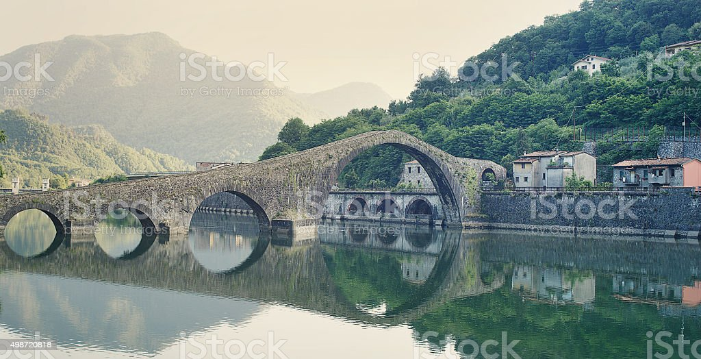 Devils Bridge Italy stock photo