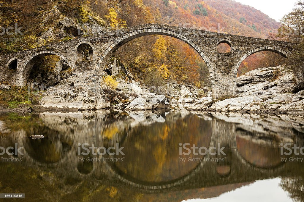 Devil's Bridge on Autunm, Ottoman Architecture , Ardino , Bulgaria royalty-free stock photo