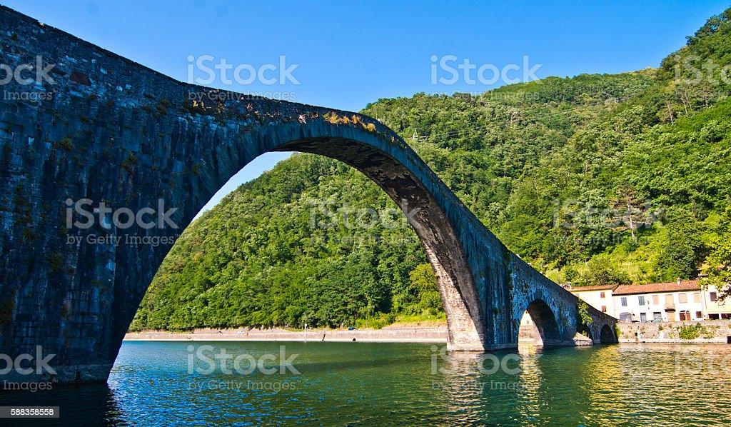 Devil's bridge, or the bridge of the Maddalena in Tuscany stock photo