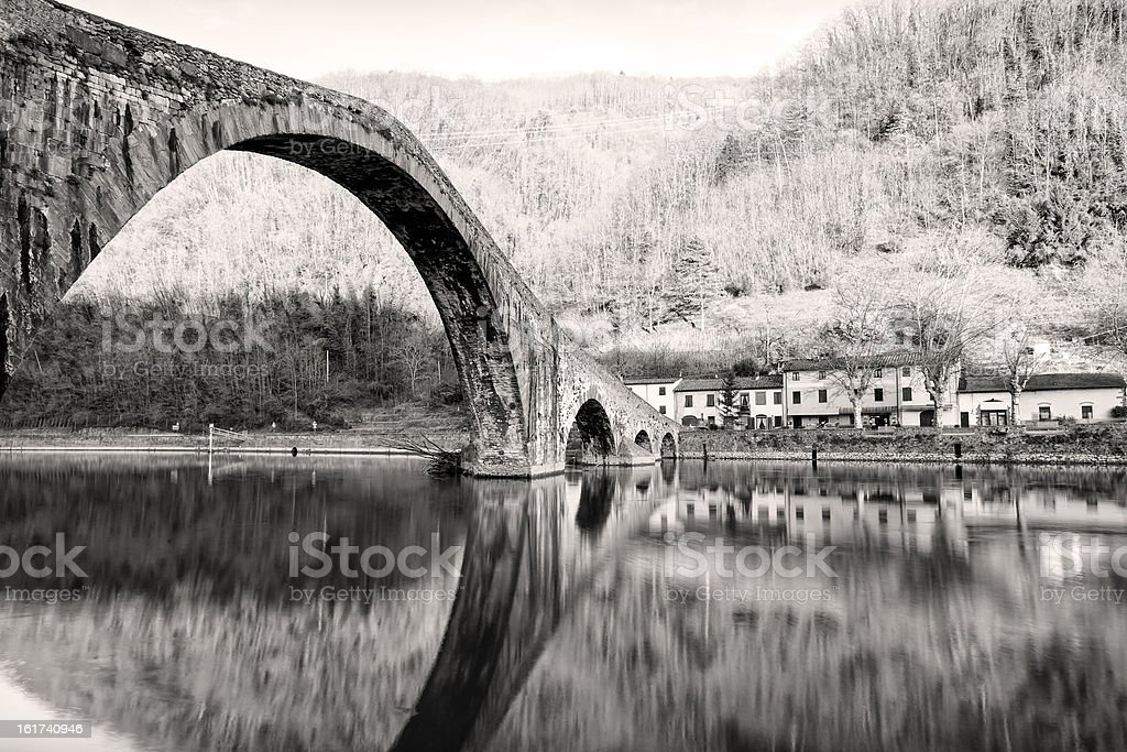Devil's Bridge, Ponte della Maddalena - Tuscany royalty-free stock photo