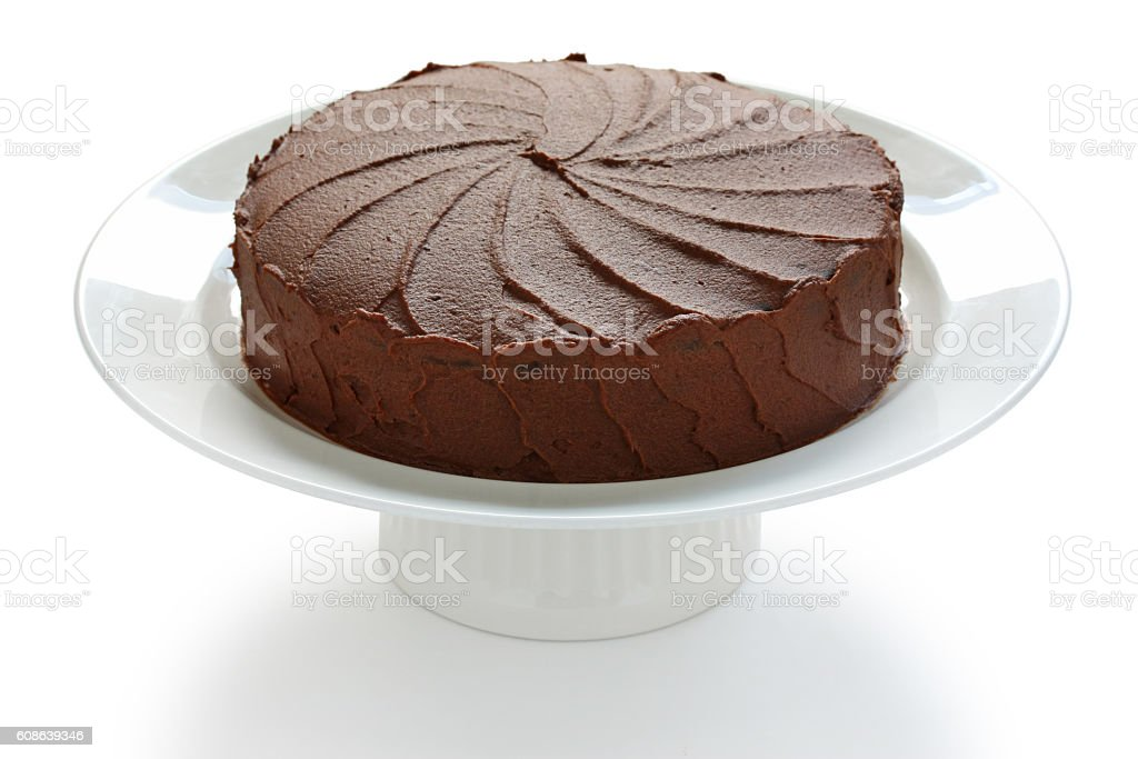 devil's food cake on a white background stock photo