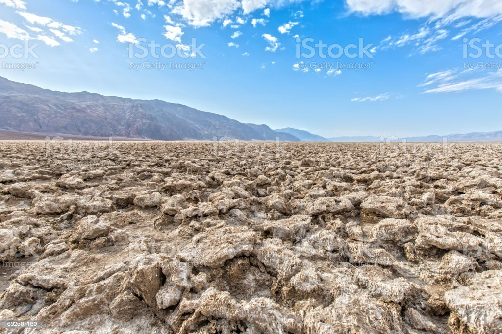 Devil's Golf Course at Death Valley National Park in California stock photo