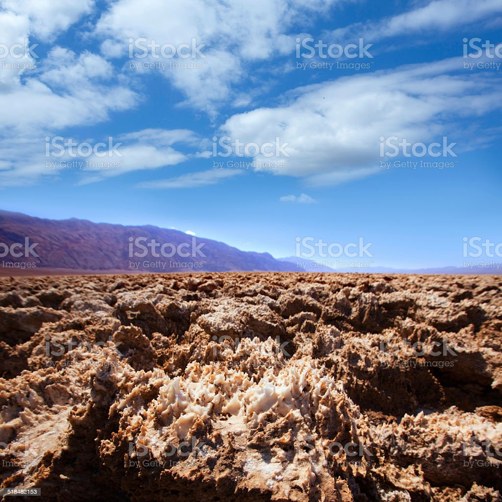 Devils golf course Death Valley salt clay formations stock photo