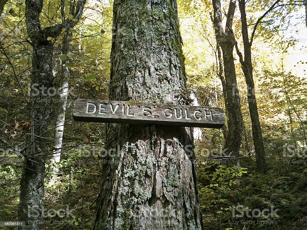 Devil's Gulch Sign stock photo