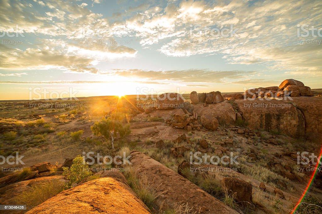 Devil's Marbles at sunrise, Northern Territory, Australia stock photo