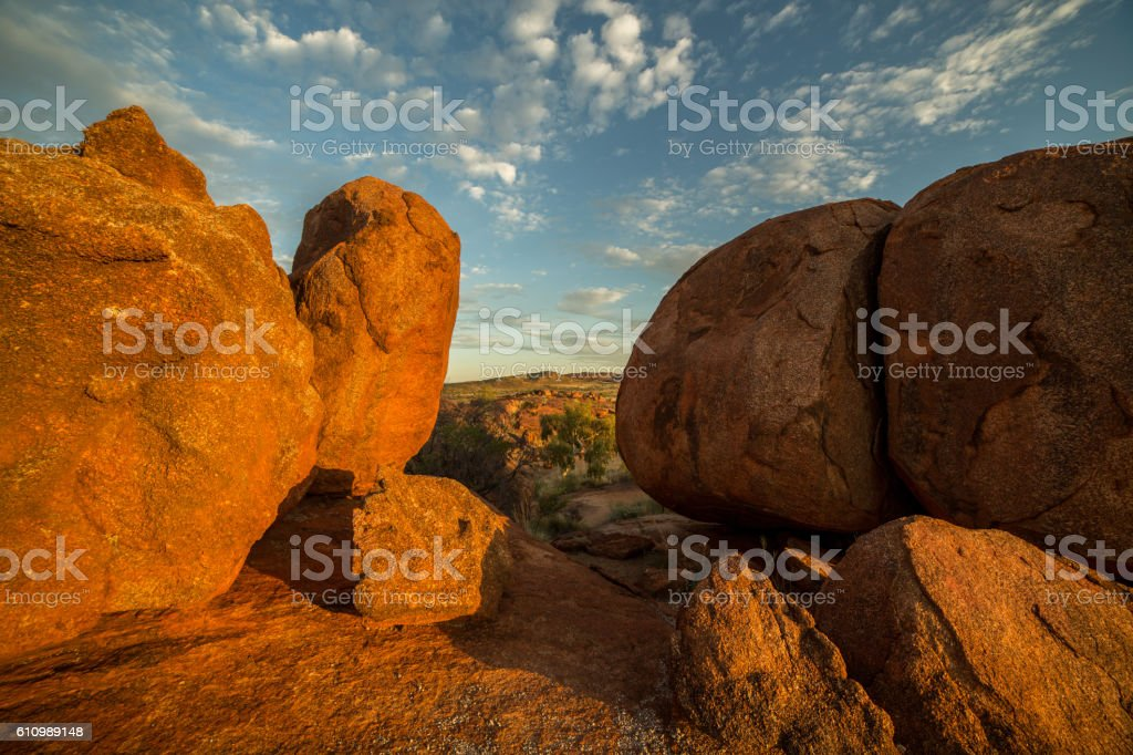 Devil's Marbles at sunrise stock photo