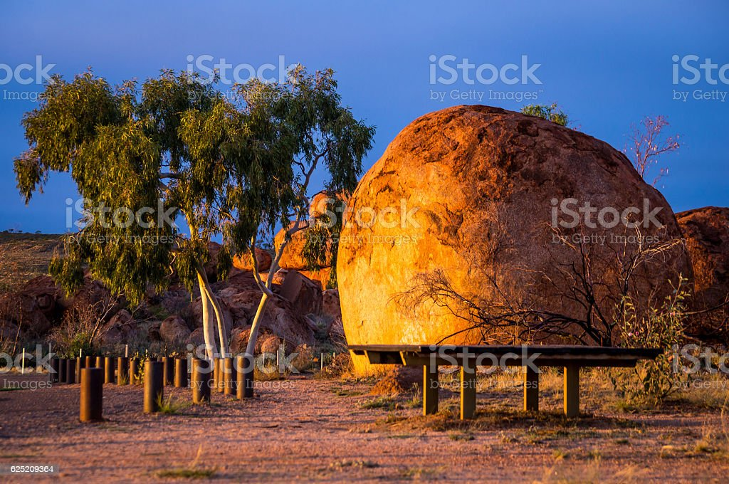 Devil's Marbles in Australian Outback stock photo