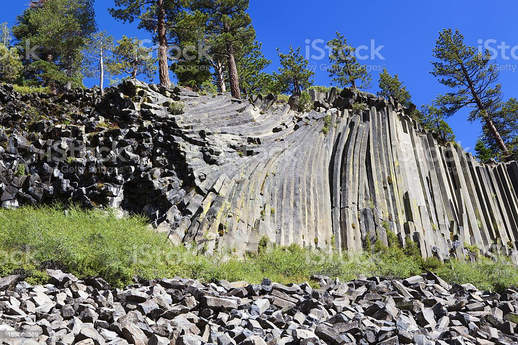 Devils Postpile, columnar basalt formation royalty-free stock photo