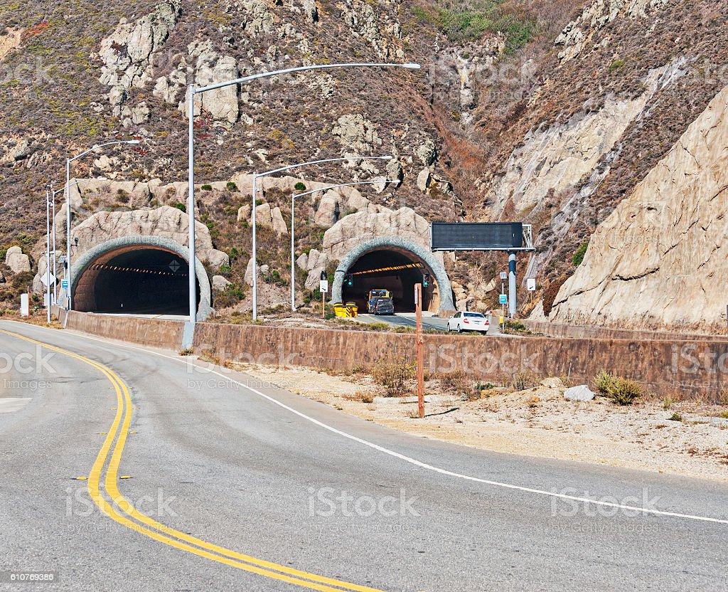 Devil's Slide Tunnel Highway One California stock photo