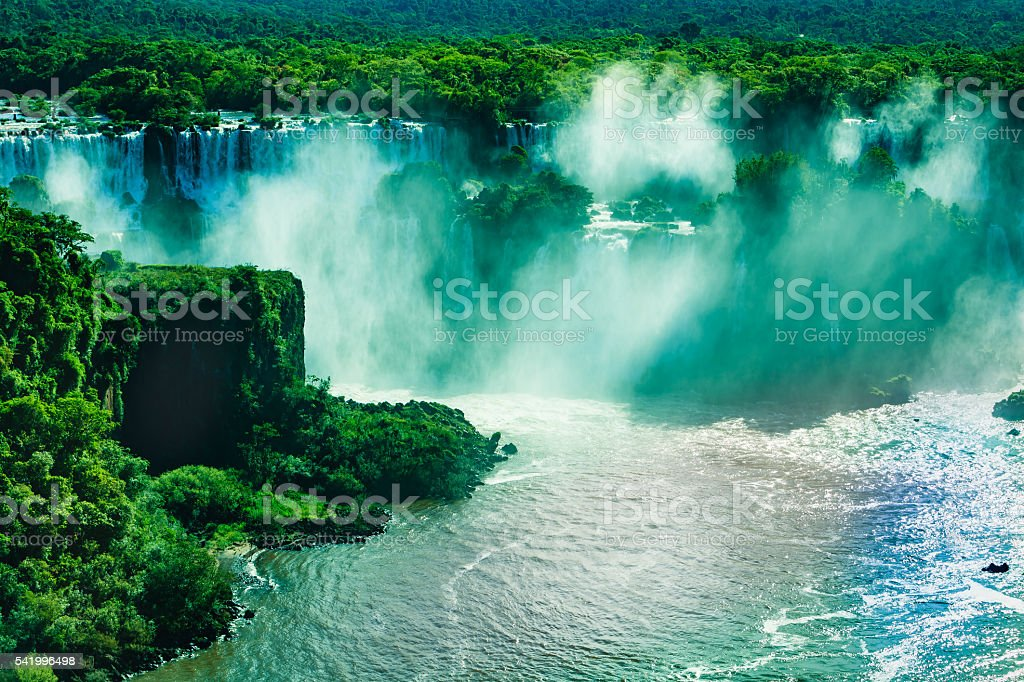 Devil's Throat at the Iguassu Falls between Brazil and Argentina. stock photo