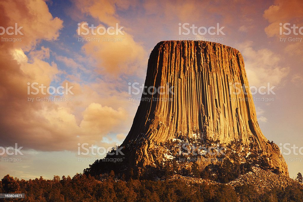 Devil's Tower at Sunset stock photo